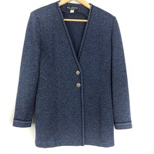St John Collection Knit Blazer Black Blue Stripe